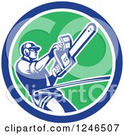 Clipart Of A Retro Harnessed Male Arborist Operating A Chainsaw In A Circle Royalty Free Vector Illustration