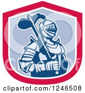 Clipart Of A Retro Knight In Armour With A Sword Inside A Shield Royalty Free Vector Illustration