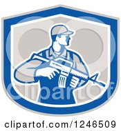 Clipart Of A Male Soldier Holding An Assault Rifle In A Shield Royalty Free Vector Illustration