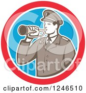 Clipart Of A Retro Military Soldier With A Bugle In A Circle Royalty Free Vector Illustration