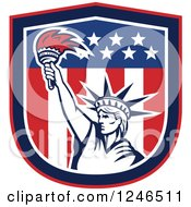 Clipart Of A Retro Statue Of Liberty Holding Up A Torch In An American Flag Shield Royalty Free Vector Illustration