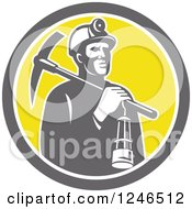 Retro Coal Miner With A Lantern And Pickaxe In A Circle