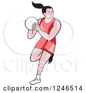 Clipart Of A Cartoon Female Netball Player Jumping Royalty Free Vector Illustration