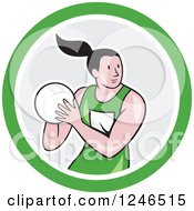 Clipart Of A Cartoon Female Netball Player In A Circle Royalty Free Vector Illustration