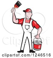 Clipart Of A Cartoon Male Painter With A Roller Brush And Bucket Royalty Free Vector Illustration