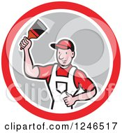 Clipart Of A Cartoon Male Painter With A Roller Brush And Bucket In A Circle Royalty Free Vector Illustration