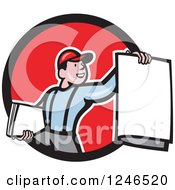 Clipart Of A Cartoon Newspaper Boy Holding One Out From A Circle Royalty Free Vector Illustration by patrimonio
