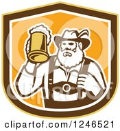 Clipart Of A Retro German Man Holding Up A Mug Of Beer In A Shield Royalty Free Vector Illustration