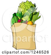 Clipart Of A Paper Grocery Bag Royalty Free Vector Illustration