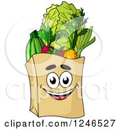 Clipart Of A Paper Grocery Bag Character Royalty Free Vector Illustration