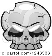 Clipart Of A Cracked Skull Royalty Free Vector Illustration