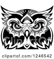 Clipart Of A Black And White Owl Face Tribal Tattoo 5 Royalty Free Vector Illustration