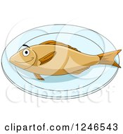 Clipart Of A Fish On A Plate Royalty Free Vector Illustration