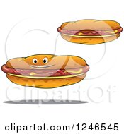 Clipart Of Hot Dogs With Mustard And Ketchup Royalty Free Vector Illustration