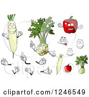 Clipart Of Daikon Radish Kohlrabi And Bell Pepper Characters Royalty Free Vector Illustration