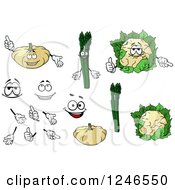 Clipart Of White Pumpkin Asaparagus And Cauliflower Characters Royalty Free Vector Illustration