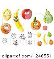 Clipart Of Lemon Orange Banana Apple Apricot And Pear Fruit Characters Royalty Free Vector Illustration