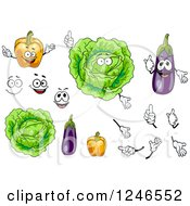 Clipart Of Orange Bell Pepper Cabbage And Eggplant Characters Royalty Free Vector Illustration