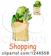 Clipart Of Paper Grocery Bags With Shopping Text Royalty Free Vector Illustration by Vector Tradition SM