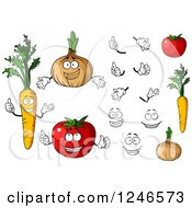 Clipart Of Carrot Onion And Tomato Characters Royalty Free Vector Illustration