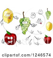 Clipart Of Lemon Grapes And Apple Fruit Characters Royalty Free Vector Illustration