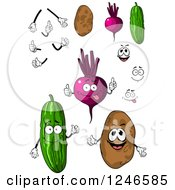Clipart Of Cucumber Beet And Potato Characters Royalty Free Vector Illustration