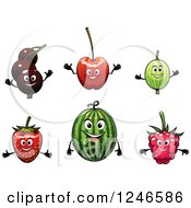 Clipart Of Currant Cherry Watermelon Strawberry And Raspberry Fruit Characters Royalty Free Vector Illustration