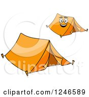 Clipart Of Orange Tents Royalty Free Vector Illustration