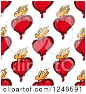 Clipart Of A Seamless Flaming Heart Background Pattern Royalty Free Vector Illustration