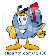 Clipart Picture Of A Blue Postal Mailbox Cartoon Character Pointing At The Viewer