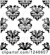 Clipart Of A Seamless Background Pattern Of Black And White Damask Floral 15 Royalty Free Vector Illustration