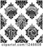 Clipart Of A Seamless Background Pattern Of Black And White Damask Floral 14 Royalty Free Vector Illustration
