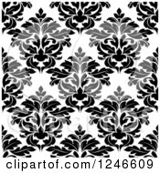 Clipart Of A Seamless Background Pattern Of Black And White Damask Floral 17 Royalty Free Vector Illustration