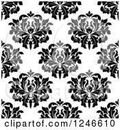 Clipart Of A Seamless Background Pattern Of Black And White Damask Floral 18 Royalty Free Vector Illustration
