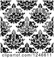 Clipart Of A Seamless Background Pattern Of Black And White Damask Floral 16 Royalty Free Vector Illustration