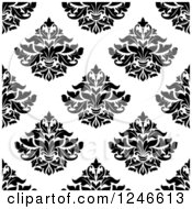 Clipart Of A Seamless Background Pattern Of Black And White Damask Floral 21 Royalty Free Vector Illustration