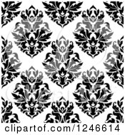 Clipart Of A Seamless Background Pattern Of Black And White Damask Floral 20 Royalty Free Vector Illustration