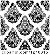 Clipart Of A Seamless Background Pattern Of Black And White Damask Floral 19 Royalty Free Vector Illustration