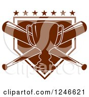 Clipart Of A Trophy And Crossed Baseball Bats Over A Plate With Stars Royalty Free Vector Illustration