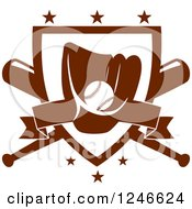 Clipart Of A Baseball In A Mitt Over A Plate And Crossed Bats Royalty Free Vector Illustration