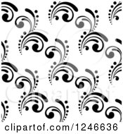 Clipart Of A Seamless Background Pattern Of Black And White Flourishes 2 Royalty Free Vector Illustration