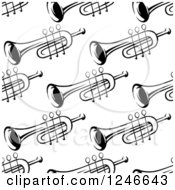 Clipart Of A Seamless Black And White Trumpet Background Pattern Royalty Free Vector Illustration