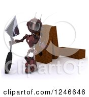 Clipart Of A 3d Red Android Robot Mason Worker With Giant Bricks And A Trowel Royalty Free Illustration by KJ Pargeter