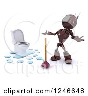 Clipart Of A 3d Red Android Robot By A Plunger And Toilet Royalty Free Illustration by KJ Pargeter