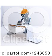 Clipart Of A 3d Blue Construction Android Robot Preparing Wallpaper Royalty Free Illustration