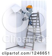 Clipart Of A 3d Blue Construction Android Robot Applying Wallpaper Royalty Free Illustration