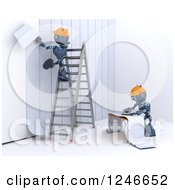 Clipart Of 3d Blue Construction Android Robots Applying Wallpaper Royalty Free Illustration