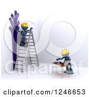 Clipart Of 3d Blue Android Robots Painting A Room Royalty Free Illustration