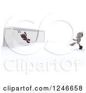 Clipart Of 3d Red Android Robots Playing Soccer Royalty Free Illustration