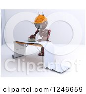 Clipart Of A 3d Red Construction Android Robot Preparing Wallpaper Royalty Free Illustration